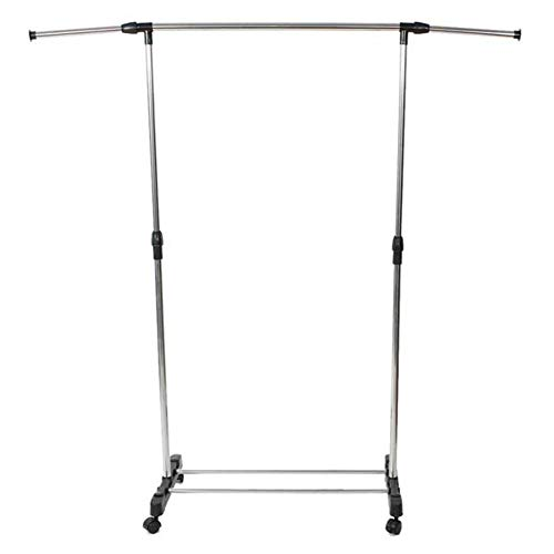 Steel Garment Rack with Wheels Single Bar Vertical Horizontal Stretching Clothes Rack with Shoe Rack Black Sliver