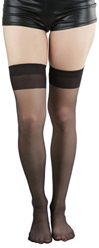 ToBeInStyle Women's Queen Size Sheer Banded Thigh Hi -  Black -