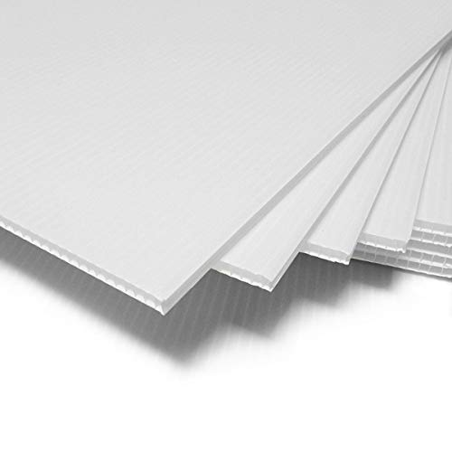 T-SIGN Corrugated Plastic Sheets Coroplast Sign Blank Board, 24 x36 Inches 3/16 Inches Thick for A-Frame Replacement Poster Sheets, 2 Pack White Blanks Sign