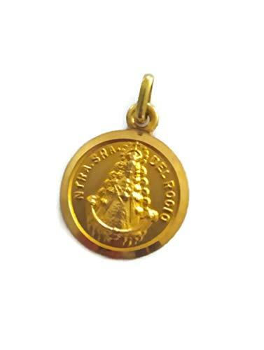 J.LUIS Medalla Virgen del Rocío Redonda de Oro 18K Colgante de Mujer Acabado Pulido Detalles Mate 17mm