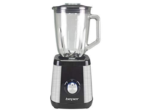 Beper BP.602 Frullatore 1,5L,Acciaio/Vetro,600 Watt,4 Lame,2 Velocità+Pulse selezionabili,Sistema di sicurezza,Piedini antiscivolo,Nero/Acciaio