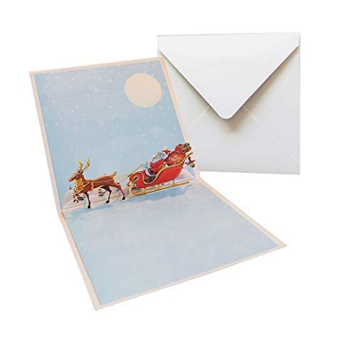 YEH-KC - Biglietto pop-up natalizio'Santa & Rentiere' - Biglietto di Natale 3D per bambini, donne e uomini, carta regalo con Babbo Natale, biglietto di auguri di Natale con busta.
