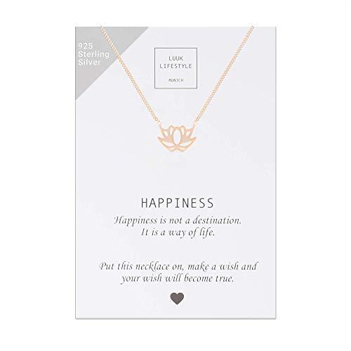 LUUK LIFESTYLE Sterling Silber 925 Halskette mit Lotus Anhänger und Happiness Spruchkarte, Glücksbringer, Damen Schmuck, rosè