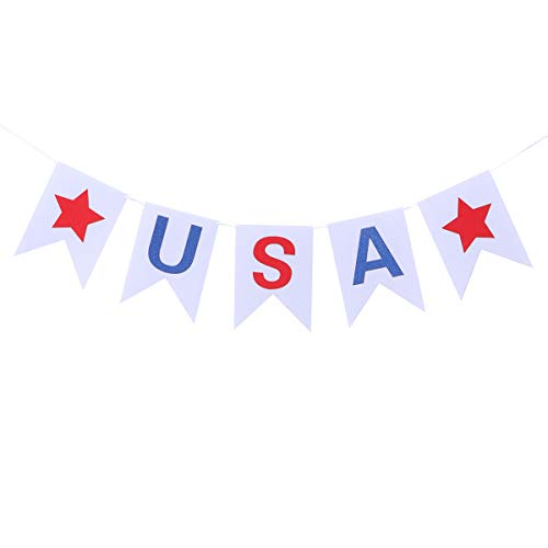 Amosfun Fourth of July Banner Star USA Felt Banner Patriotic Banner Hanging Burgee Banner Garland National Day Decoration