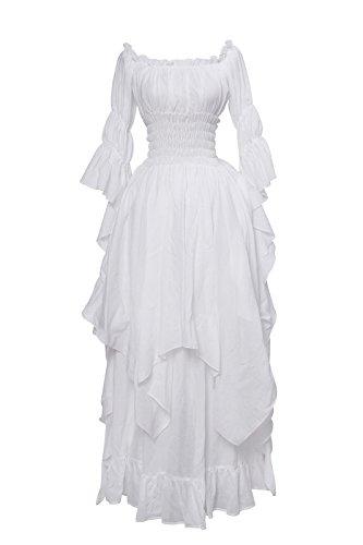 Nuoqi Damen Baumwolle Nachthemd Schulter unregelmäßigen Mittelalterliches Vintage Kleid