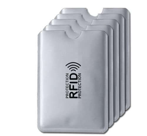 kit Com 6 Porta Cartão Anti Fraude Prata Por Compra Por Aproximação Contactless Anti RFID/NFC Trava Sinal De Transmissão