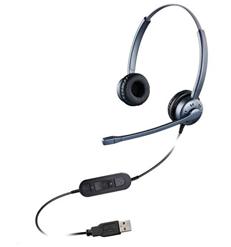 USB Headsets with Microphone Noise Cancelling, Corded Headphone with Volume Control and Mic Mute, Durable Headphone with Flexiable Mic Arm for Call Center Home Office Online Course Skype webinar