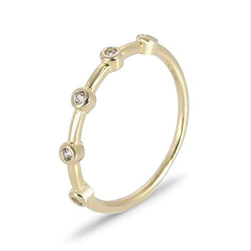 IWINO Verzilverde 14K gouden ring Diamant trouwstijl Minimalistische staartring