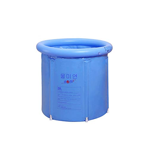 Aufblasbare Badewanne, tragbare faltbare dicke Kunststoffwanne, hochwertige tiefe Badewanne mit Ablauf, for Kinder geeignet (blau)