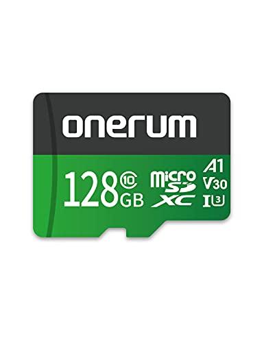 Onerum Scheda MicroSD Fino a 100/30MB/s(R/W), Scheda di Memoria MicroSDXC da 128 GB+Adattatore SD con A1,C10,U3,V30, Registrazione Video 4K, Scheda TF per Fotocamera, Smartphone, Switch, Drone, Gopro