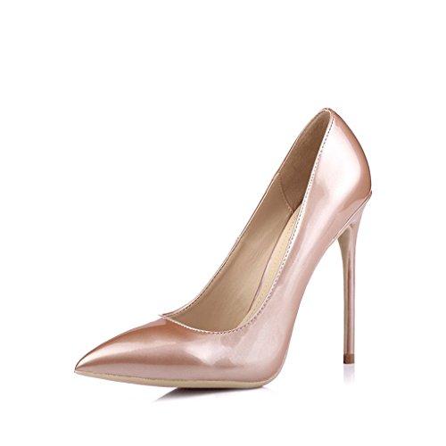 Damen High Heels - Regenbogen 2018 Neu, 12cm High Heel Sandaletten Pink Pink Nude OL Pumps (Farbe : Hautfarbe, größe : 33)