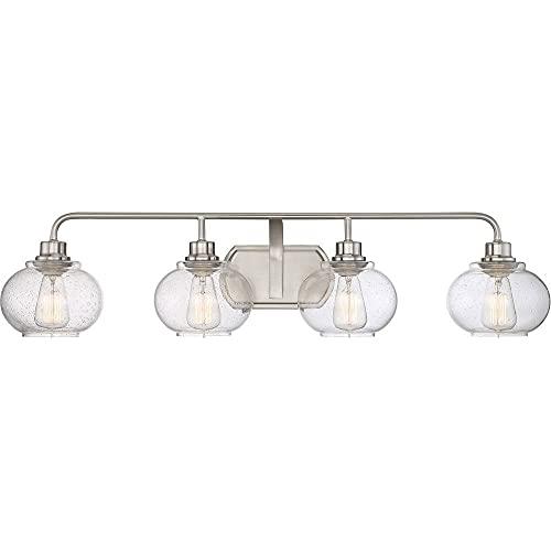 Quoizel TRG8604BN Trilogy Glass Lantern Vanity Wall Lighting, 4-Light, 400 Watts, Brushed Nickel (8