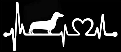 American Vinyl Heartbeat Lifeline Dachshund Bumper Sticker (Love Heart dach bodach weener)