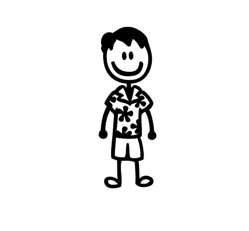 MDGCYDR Pegatinas Coche 20 Cm * 15 Cm Pegatinas De Coche Decoración Hawaii Moda Figura De Palo Familia Dibujos Animados Motocicleta Calcomanías Protector Solar Impermeable PVC,