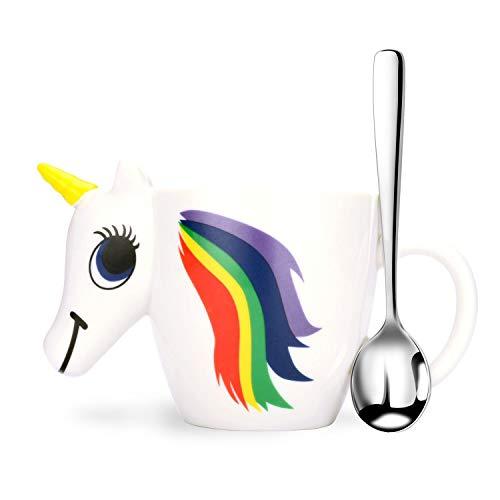 3d Unicorn mug, Not Color Changing Ceramic Fanny Coffee Mug And Spoon Set, Unicorn Gifts For Kids Girls Women
