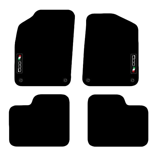 Carsio Tailored Carpet Car Floor Mats FOR Fiat 500 2012+ Onwards 4 Clips