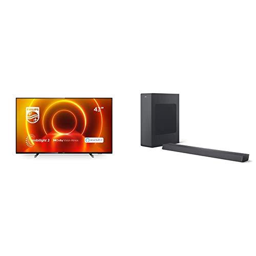 Philips 43PUS7805/12 Televisor Ambilight de 43' (4K UHD, P5 Engine, Dolby Vision∙Atmos, Alexa Integrado, Smart TV) con Barra de Sonido con Subwoofer B6305/10 (Bluetooth, 140W, Dolby Audio) Gris