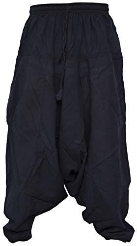 Pantalones estilo ninja, genio, Aladino, harén Little Kathmandu, pantalones de algodón ligero para hombres negro negro L