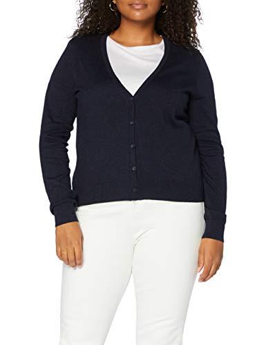 Marchio Amazon - MERAKI Cardigan Cotone Donna Scollo a V, Blu (Navy), 44, Label: M