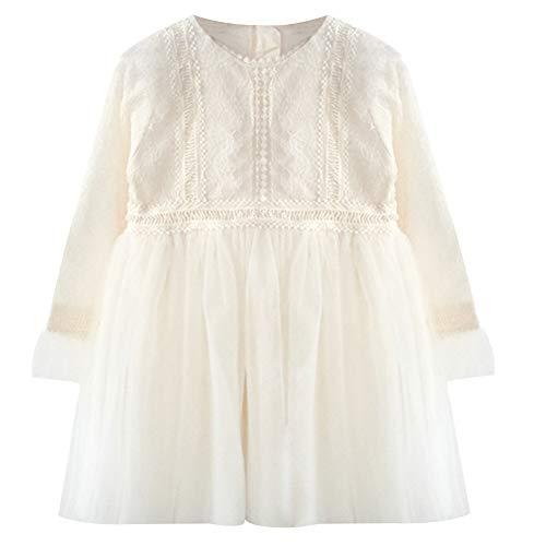 ggudd Nia Manga Larga Mini Tul Tutu Chifones Formal Tipo Vestido (Blanco, 160)