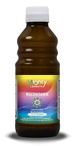 Liposomales Multivitamin I Folsäure I Vitamin C, D3, E, A, B-Komplex I hochdosiert I vegan I hohe Bioverfügbarkeit I flüssig I Mighty Elements I 250 ml Glasflasche