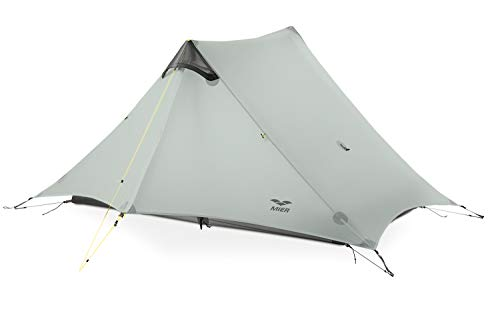 MIER Ultralight Tent 3-Season Backpacking Tent for 1-Person or 2-Person Camping, Trekking, Kayaking, Climbing, Hiking (Trekking Pole is NOT Included), Grey, 2-Person