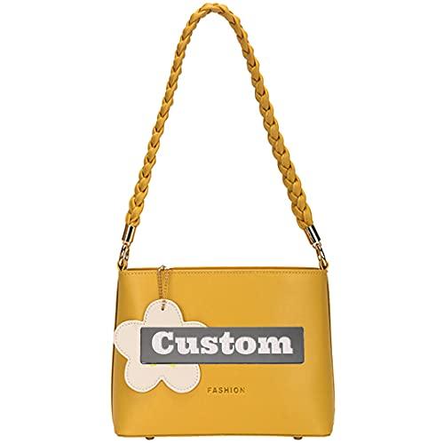 RXDZ Cadena de nombre personalizada para mujer, bolso bandolera de piel con correa de hombro para mujer (color amarillo, tamaño: talla única)