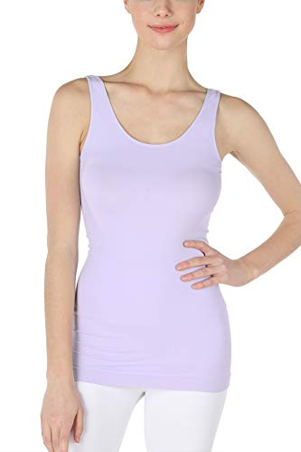 NIKIBIKI Women Seamless Premium Classic Tank Top, Made in U.S.A, One Size (Little Lilac)
