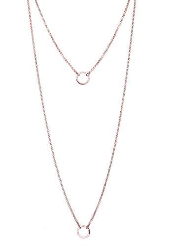 Elli Halskette Damen Kreis Layer Lagenlook in 925 Sterling Silber Rosé vergoldet