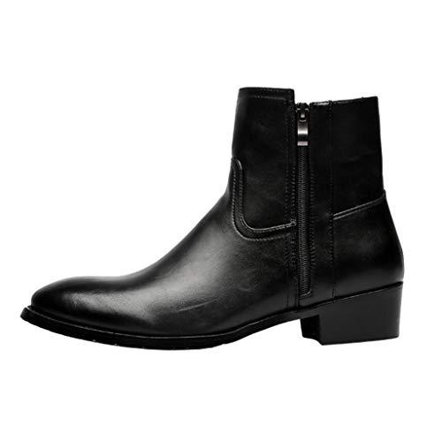 HJHJHAB puntige laarzen heren Chelsea Martin laarzen met ritssluiting enkellaarzen formele laarzen lederen laarzen hoge zakelijke schoenen