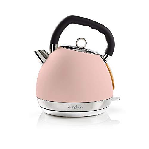 NEDIS Wasserkocher Wasserkocher - 1,8 l - Soft-Touch - Farbe: Pink - Material: Stainless Steel - Minimiert Kalkablagerungen - Kabellose 360°-Drehsockel Pink 0.70 m