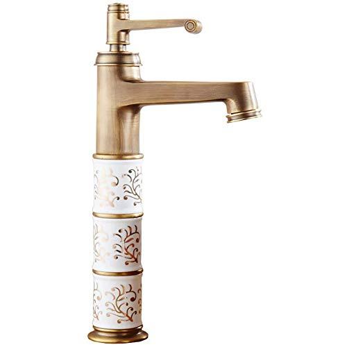 CHENXU Grifo de Lavabo de Baño Baño Grifo - Grifo baño, Cobre Retro Europea Grifo, diseño Elegante, tamaño 30x11 Cm