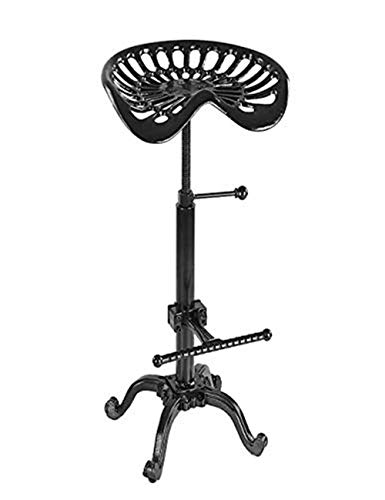 JFFFFWI Barhocker Hocker Barhocker Industrie Gusseisen Traktorsitz Metallstange Stuhl Fußstütze 2er-Set Mit Rückenlehne Drehung Höhenverstellbar (Farbe: Schwarz)