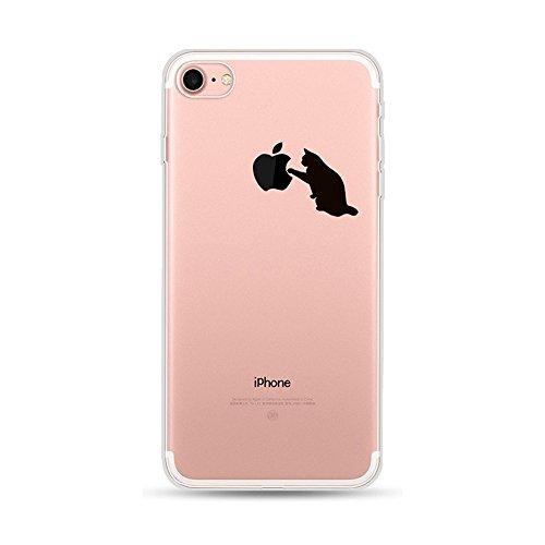 CrazyLemon para la Cubierta de la Funda iPhone 6S iPhone 6, Soft TPU Flexible híbrido Silicone Skin Skin Clear TPU Back Fundas Ultra Delgadas para iPhone 6 6S - Pequeño Gato Negro
