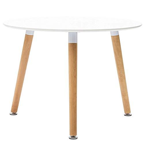 Milani Home s.r.l.s. Tavolo da Pranzo Moderno di Design Rotondo Piano in ABS Bianco Diametro 120 con Gambe in Legno e Struttura in in Metallo per Interno