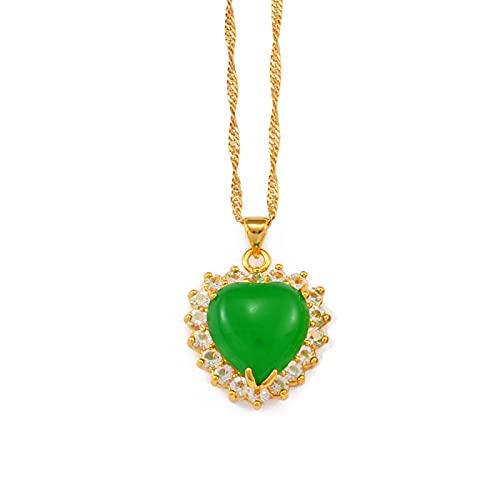 Minekkyes Collares con Colgante de Piedra Verde Ovalada de corazón para Mujer, joyería de Color Dorado, Adornos africanos Hawaianos de 45 cm