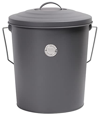 Muddy Hands Metal Bucket with Lid Carry Handle & Scoop - Storage Container for Wild Bird Seed Pet Dog Cat Food Animal Feed (Grey)