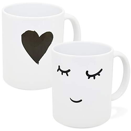 Taza con texto en inglés «Duo humour Amour Corazón Corazón – Idea de regalo original para parejas enamoradas – hermanas marítimas – esposas – Para cumpleaños, San Valentín, Navidad