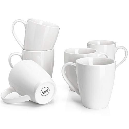 Sweese 601.001 Kaffeebecher Kaffeetassen 6er Set aus Porzellan, Tasse mit großem Henkel für Heißgetränke, 400 ml