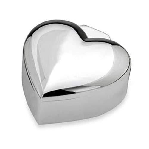 SILBERKANNE Portagioie decorativo a forma di cuore con chiusura a cerniera, 6,5 x 6 x 3 cm, placcato argento, lavorazione di alta qualità