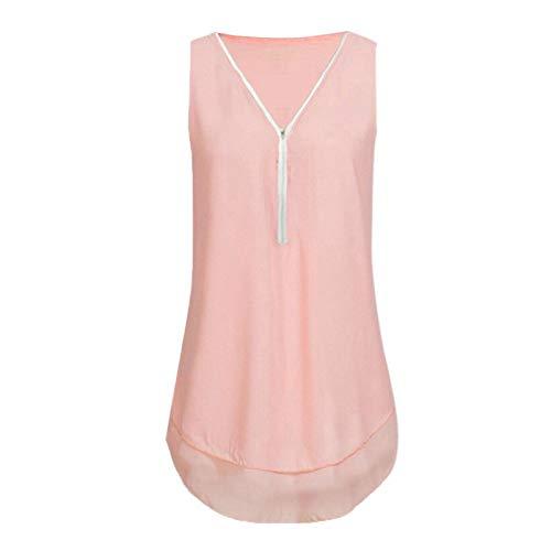 Camiseta sin mangas para mujer, cuello en V, con estampado de flores, con cremallera y dobladillo.