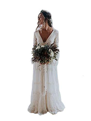 Tsbridal Women Deep V Neck Lace Boho Wedding Dress Long Sleeves Bridal Dresses Ivory US 17