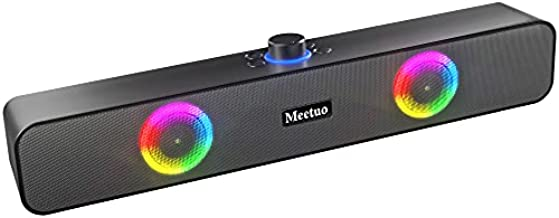Computer Speakers for Desktop, Meetuo Powerful Bluetooth 5.0 & Wired PC/Laptop Speakers Built in Microphone Stereo Soundbar with RGB Lights
