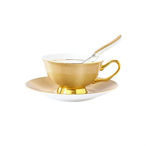 Taza de té o té de Estilo clásico con platillo 8.5oz Hueso Delicado China Taza de café Pintada a Mano Phnom Penh Cappuccino Taza para Tomar café Té (Color : Gold)