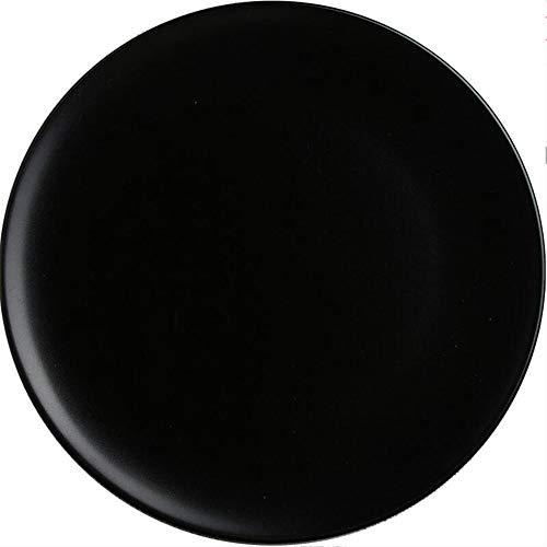 Plato mate negro vajilla de cerámica Plato occidental, plato doméstico, plato de fruta, plato de carne filete
