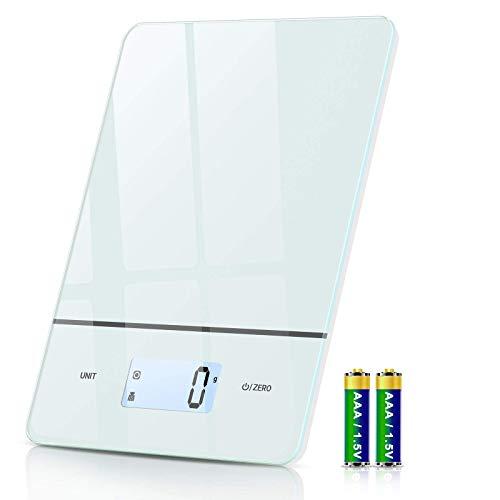 Bilancia Cucina Digitale, Bilancia da Cucina 6 unità con Precisione da 1g / 0.1once, Funzione Tara, Display LCD, Vetro Temperato, Bilancia Alimenti Elettronica da 5kg per Cucinare e Pesa Cibo