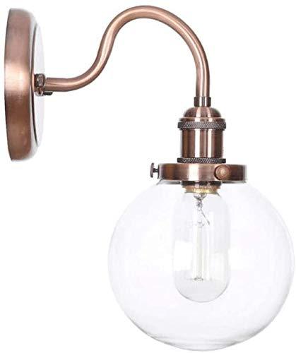 YYF glazen bol schaduw E27 kamerlamp bedlampje retro wandlamp van metaal industriële lampen smeedijzeren wandlamp gebogen