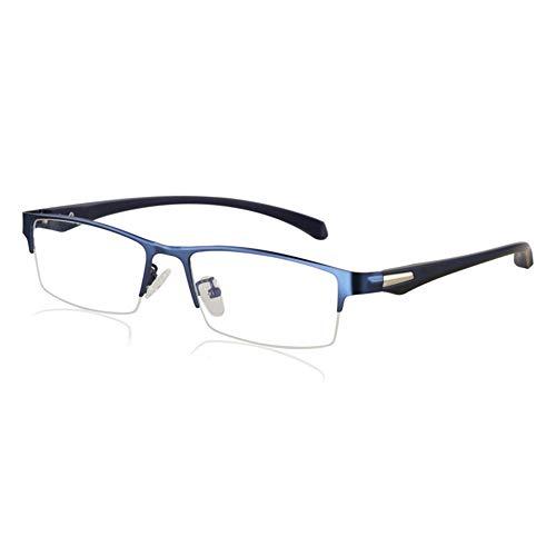Eyetary Männer Progressive Multi-Fokus-Lesebrille, Blue Light Blocking-Leser, 1.56 Brechungsindex-Linse - Ultra Thin Rectangle Metal Frame,Blue,+1.75