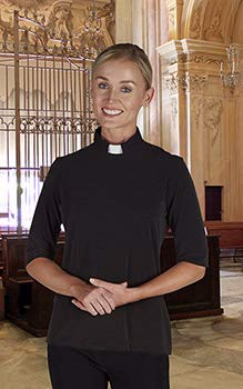 Clergy Shirt-Womens Knit Jersey-Short Sleeve-Tab Collar-Black (Size Medium)