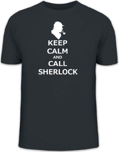 Shirtstreet24, Keep Calm and Call Sherlock, Herren T-Shirt Fun Shirt Funshirt, Größe: L,Darkgrey